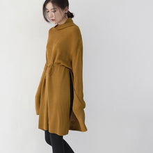 Load image into Gallery viewer, vintage yellow sweater dresses Loose fitting high neck side open long knit sweaters casual tie waist winter dress