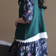 warm blackish green knit sweaters plus size clothing knitted tops New waistcoat shirt Cute