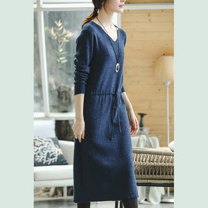 warm blue knit dresses fall fashion V neck long knit sweaters casual drawstring pullover sweater