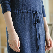 Load image into Gallery viewer, warm blue knit dresses fall fashion V neck long knit sweaters casual drawstring pullover sweater