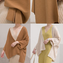 Load image into Gallery viewer, warm brown sweaters plus size clothing Three Quarter sleeve knitted tops Elegant cardigan