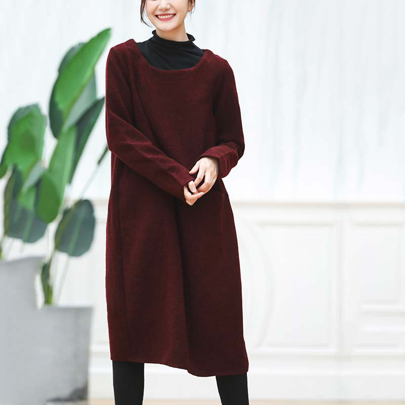 warm burgundy knit dresses oversized O neck sweater casual baggy dresses pullover sweater