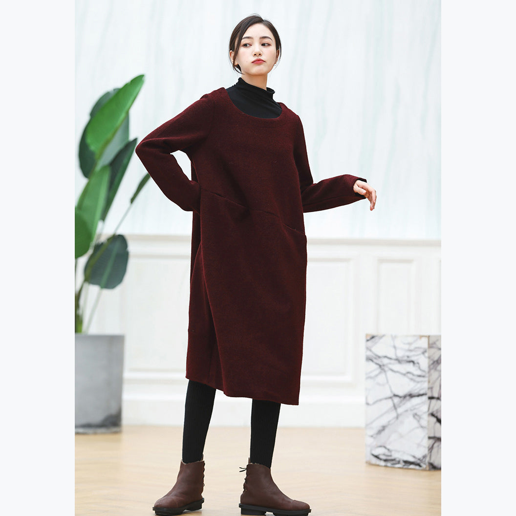 f4e017d356 warm burgundy knit dresses oversized O neck sweater casual baggy dresses  pullover sweater ...