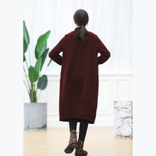 Load image into Gallery viewer, warm burgundy knit dresses oversized O neck sweater casual baggy dresses pullover sweater