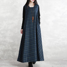 Load image into Gallery viewer, warm dark blue Plaid knit dresses Loose fitting Sleeveless patchwork dresses vintage Square Collar pockets pullover dresses