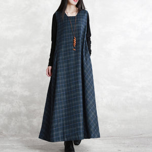 warm dark blue Plaid knit dresses Loose fitting Sleeveless patchwork dresses vintage Square Collar pockets pullover dresses