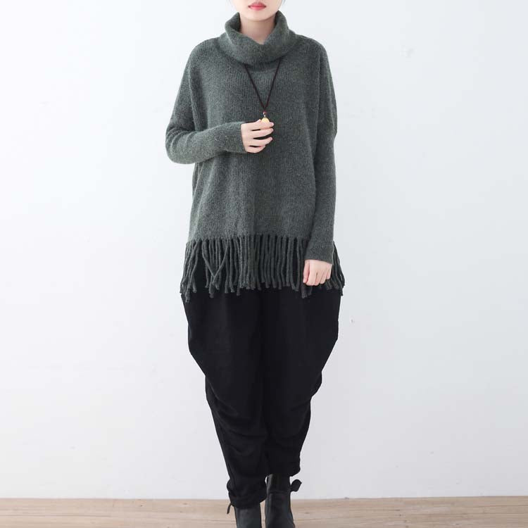 warm dark gray knit sweaters casual batwing sleeve knit sweat tops boutique tassel winter shirt