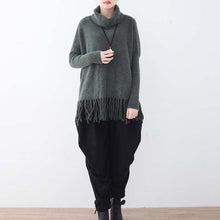 Laden Sie Bild in Galerie-Betrachter, warme dunkelgraue Strickpullover lässig Fledermausärmel Strick-Sweat-Tops Boutique Quaste Winterhemd