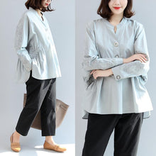 Load image into Gallery viewer, warm fall outfits gray embroidery cotton tops loose casual shirts