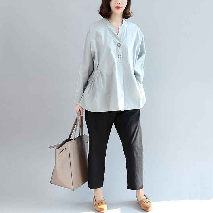 warm fall outfits gray embroidery cotton tops loose casual shirts