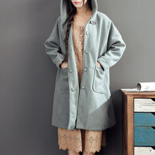 Load image into Gallery viewer, warm fall woolen outfits light green oversize pockets long sleeve coats