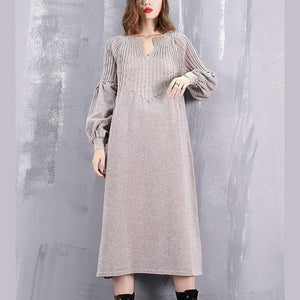 warm khaki sweater dress oversized v neck winter dress New baggy wrinkled winter dresses