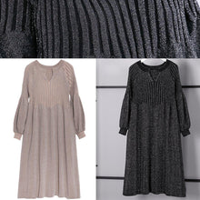 Load image into Gallery viewer, warm khaki sweater dress oversized v neck winter dress New baggy wrinkled winter dresses