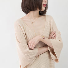 Load image into Gallery viewer, warm nude cozy sweater casual V neck knitted blouses casual Batwing Sleeve fall blouse