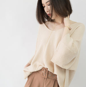 warm nude cozy sweater casual V neck knitted blouses casual Batwing Sleeve fall blouse