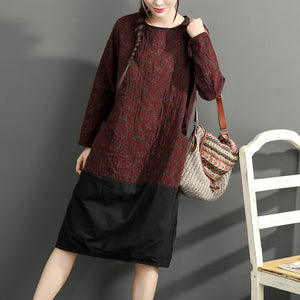 warm winter cotton outfits red prints casual plus size dresses patchwork o neck casual dress