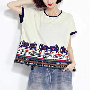 white animal prints casual cotton pullover plus size short sleeve t shirt