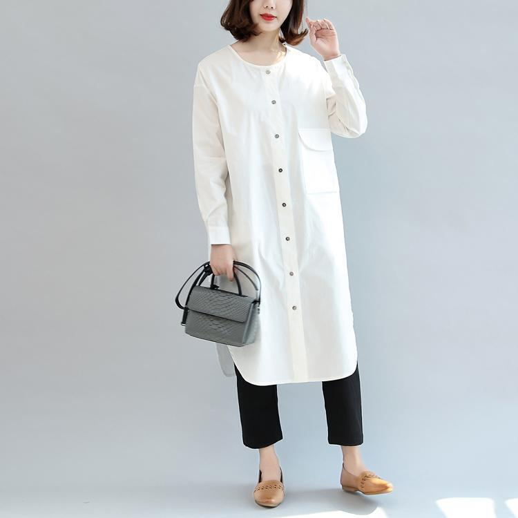 white baggy cotton dresses loose casual long sleeve shirt dress