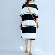 white black striped Midi-length cotton dress plus size linen cotton dress boutique low high design alphabet prints clothing