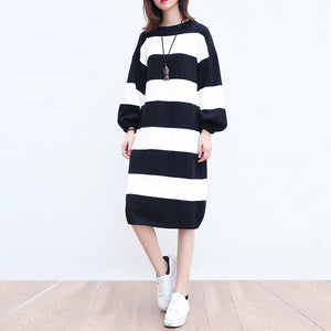 white black striped woolen cozy sweater dresses plus size casual women knit shift dress