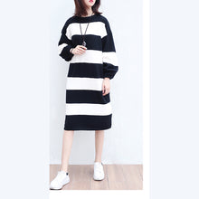Load image into Gallery viewer, white black striped woolen cozy sweater dresses plus size casual women knit shift dress