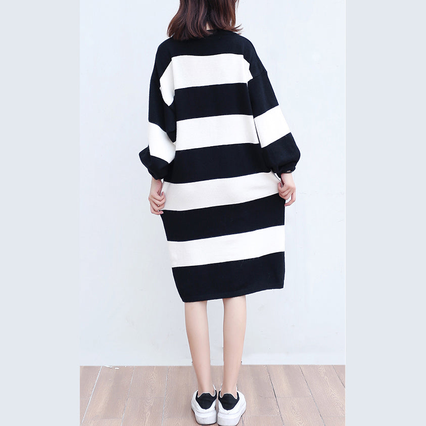 white black striped woolen cozy sweater dresses plus size casual ...