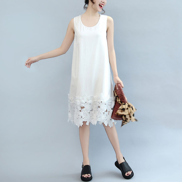 white casual cotton dresses plus size sundress sleeveless maxi dress