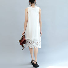 Load image into Gallery viewer, white casual cotton dresses plus size sundress sleeveless maxi dress