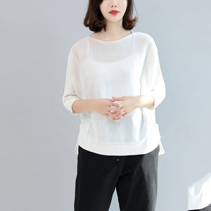 white casual cotton tops plus size blouse  o neck t shirt  side open