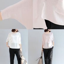 Load image into Gallery viewer, white casual cotton tops plus size blouse  o neck t shirt  side open