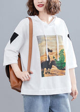 Load image into Gallery viewer, white casual prints hoode blouse women casual half sleeve tops