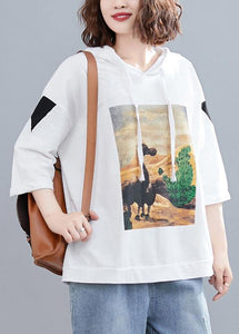 white casual prints hoode blouse women casual half sleeve tops