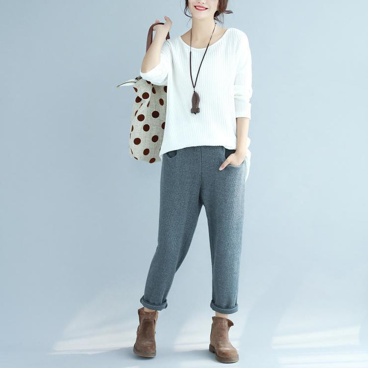 white casual woolen slim fit knit blouse plus size fashion o neck sweater tops