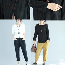 Load image into Gallery viewer, white casual woolen slim fit knit blouse plus size fashion o neck sweater tops