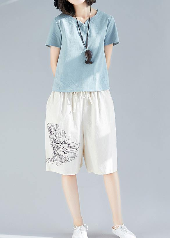 white embroidery blended loose pants casual elastic waist shorts