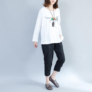 white fashion cotton tops oversize long sleeve blouse