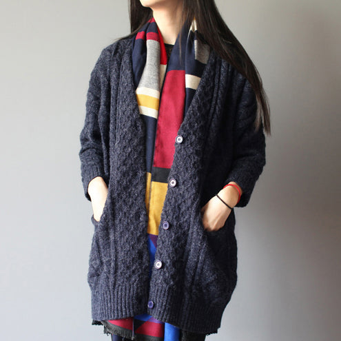 winter baggy loose navy woolen blended knit cardigans plus size pockets cable sweater coat