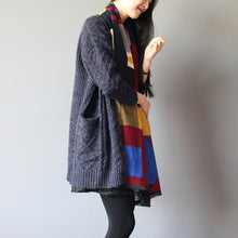 Load image into Gallery viewer, winter baggy loose navy woolen blended knit cardigans plus size pockets cable sweater coat