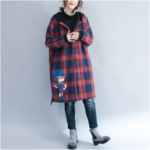 winter cartoon prints cotton cardigans plus size casual red grid thick hooded trench coats