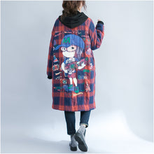 Load image into Gallery viewer, winter cartoon prints cotton cardigans plus size casual red grid thick hooded trench coats