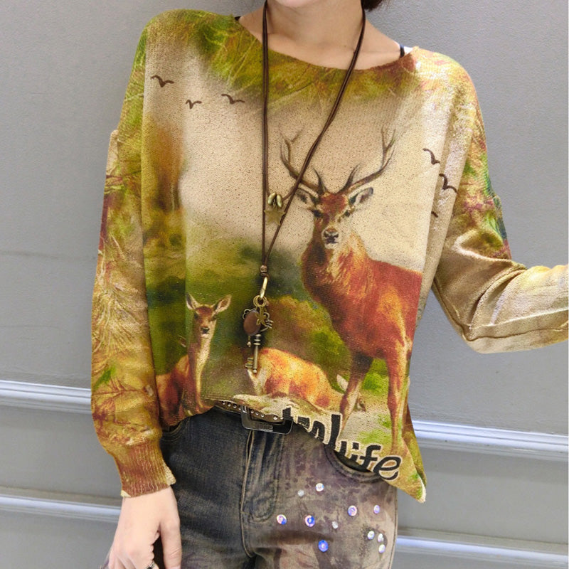winter casual animal print stylish sweater oversize women batwing sleeve knit tops