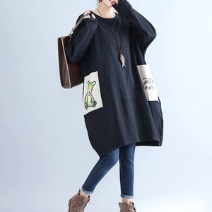 winter casual black cotton dresses plus size pockets long sleeve shift dress