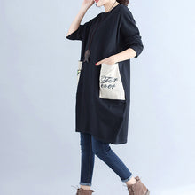 Load image into Gallery viewer, winter casual black cotton dresses plus size pockets long sleeve shift dress