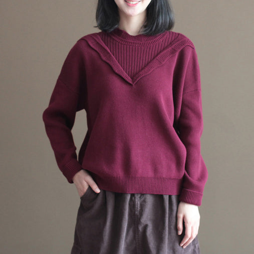 winter casual burgundy lace collar cotton sweater loose warm knit tops