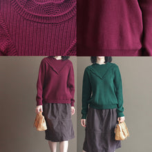 Load image into Gallery viewer, winter casual burgundy lace collar cotton sweater loose warm knit tops