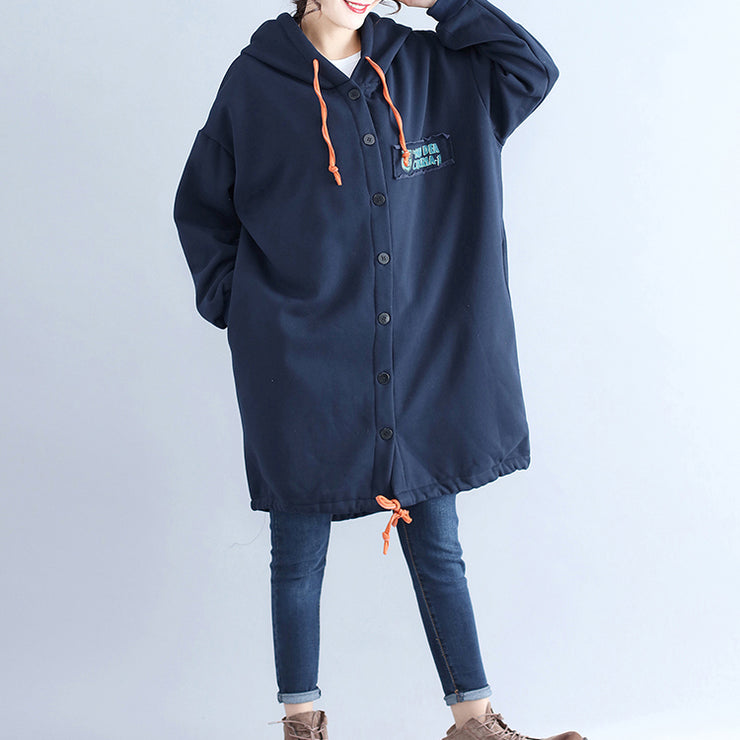 winter casual cotton cardigans oversize navy fashion hooded coats back cartoon prints