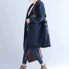 Load image into Gallery viewer, winter casual cotton cardigans oversize navy fashion hooded coats back cartoon prints
