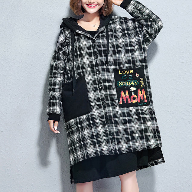 winter casual grid print cotton thick coats plus size hooded thick low high  cardigans