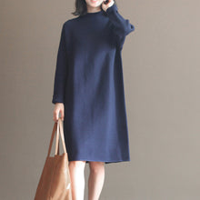 Load image into Gallery viewer, winter dark blue brief cotton blended sweater dresses plus size casual knit dress