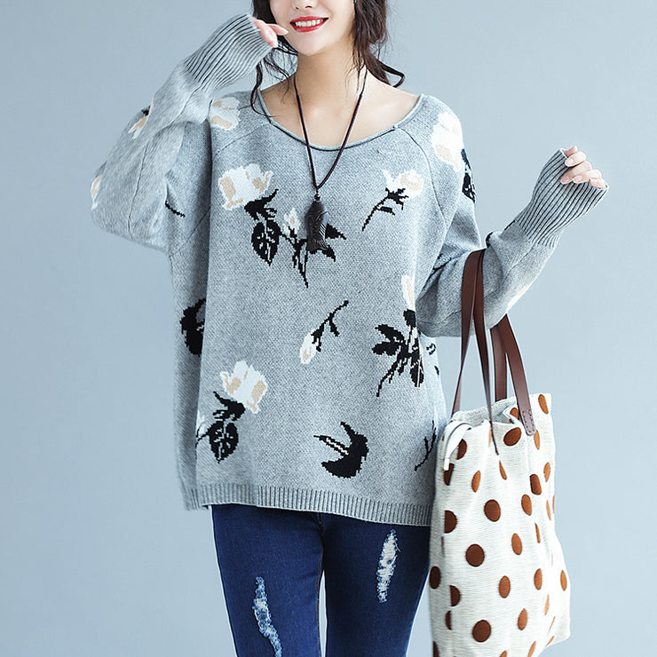 winter gray prints rabbit fur sweater pullover oversize long sleeve knit tops